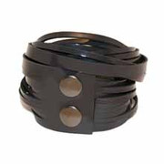 Leather Wrap Bracelet - Charcol Patent