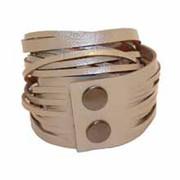 Leather Wrap Bracelet - Champagne Patent