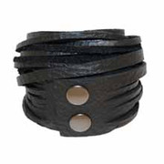 Leather Wrap Bracelet - Ebony