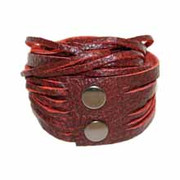 Leather Wrap Bracelet - Scarlet