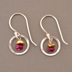 Rubies in Silver Earrings