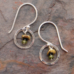Olive CZ and Petite Sterling Circle Earrings