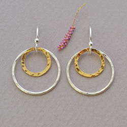 Delicate Gold and Silver Circle Earrings