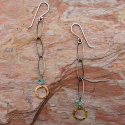 Oxidized Links and Gold Circle Earrings