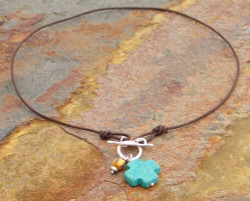 Turquoise Cross & African Trade Bead Necklace
