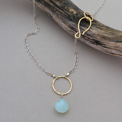 Chalcedony Pendant & Gold Circle Necklace