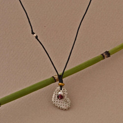 Textured Heart & Pearl Linen Necklace