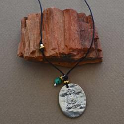 Pewter Buddha & Turquoise Necklace