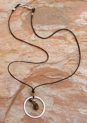 Circled Quartz and Garnet Necklace