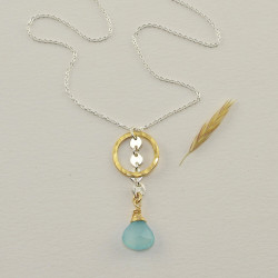 Chalcedony & Gold Circle Necklace