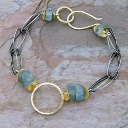 Hammered Gold & Aquamarine Bracelet