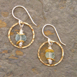 Circled Aquamarine Earrings