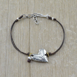 Pewter Heart and Garnet Linen Bracelet