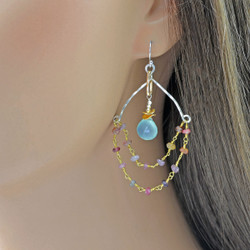 Gold Wrapped Tourmaline and Chalcedony Earrings