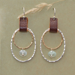 Crimson Bound Inner Circle and Aquamarine Earrings