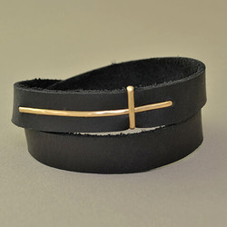 Traversing Cross Leather Cuff