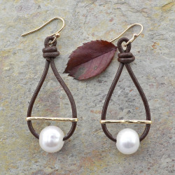 Pearl & Leather  Hoop Earrings