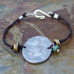 Pewter Buddha Linen Bracelet