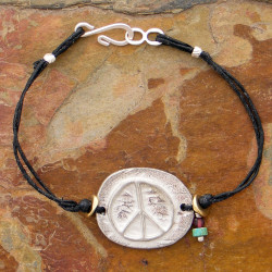 Pewter Peace Sign and Linen Bracelet