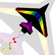 2D Black Rainbow Airplane Kite