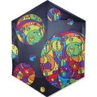 Black Rainbow Orbit Bubbles -  Rokkaku Kite
