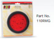 110RMG Stop / Tail Round Light with Black Grommet Multivolt
