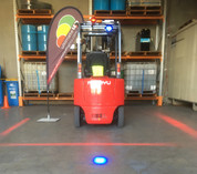 Fork Truck Halo System. Create a Safety Halo around your Forklift. Red Zone Danger Area, Warning Safety Warehouse light. Create a NO Go Zone. Ultimate LED. www.ultimateled.com.au