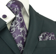 Got Knot 18281 Purple with silver floral pattern necktie set.