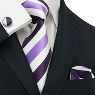 Got Knot 1825V White with purple and lavender stripe pattern necktie set.