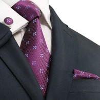 Got Knot 22T Purple with light blue floral pattern necktie set