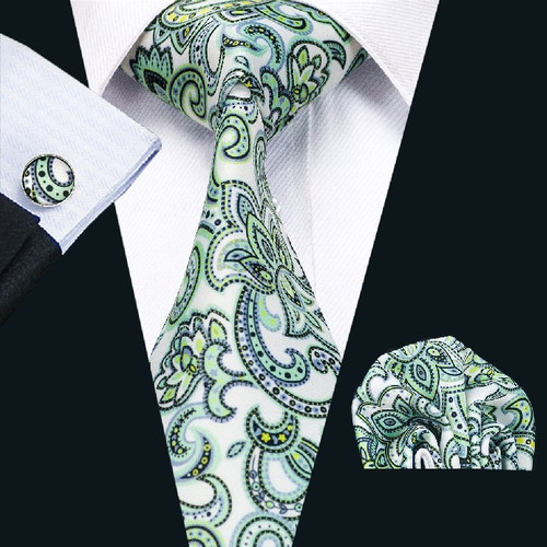 Silver with lime green and baby blue floral pattern necktie set.