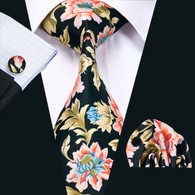 Black with pink and baby blue floral pattern necktie set.