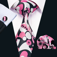 Black with white and pink floral and starburst pattern necktie set.