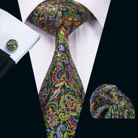 Black with red, blue and green contemporary pattern necktie set.