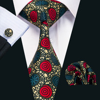 Gold with red and blue spiral pattern necktie set.