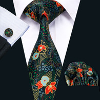 Black with red yellow and blue floral pattern necktie set.
