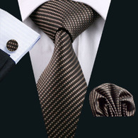 Brown with tan stripe necktie set.