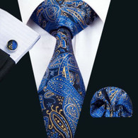 Blue with navy and gold paisley pattern necktie set.