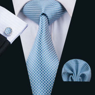 White with baby blue oval pattern necktie set.
