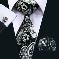 Black with silver paisley and floral pattern necktie set.