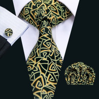 Black with gold and white geometric pattern necktie set.