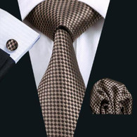 Brown with tan polka-dot pattern necktie set.