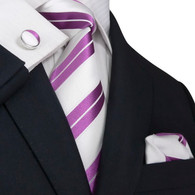 White with purple stripe necktie set.