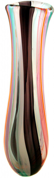 Tall Hand blown glass vase, beautiful color combination with elongated shape