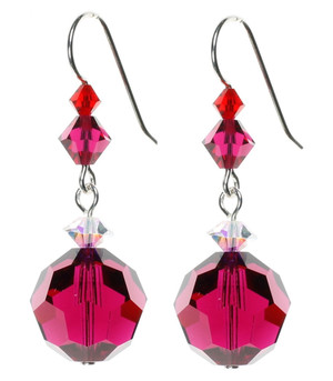 Ruby Red Crystal Earrings with Sterling Silver and Swarovski Crystal. July Birthstone Earrings.