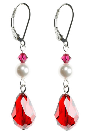Bright Red Crystal earrings with White Pearl on Sterling Silver finishings.
