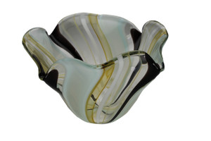 Organically shaped glass bowl. Multi colored pattern, hand blown in NYC