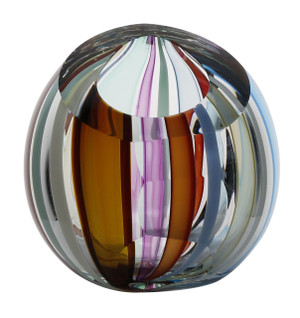 Colorful glass vase with hand cut and polished neck.  Artist: Karen Curtis