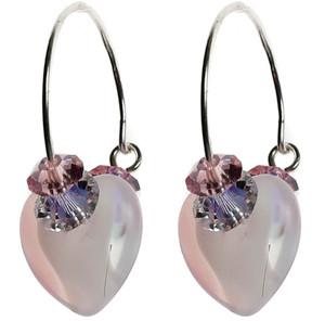 Pink Swirl Glass & Swarovski Crystal Hoop Earrings