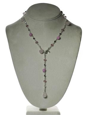 Rose Quartz & Pink Swarovski Sterling Necklace